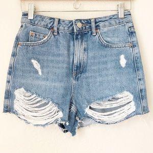 Topshop Moto Cutoff Mom Jeans Distressed
